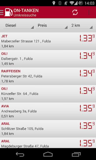 ON Tanken Benzinpreise BETA