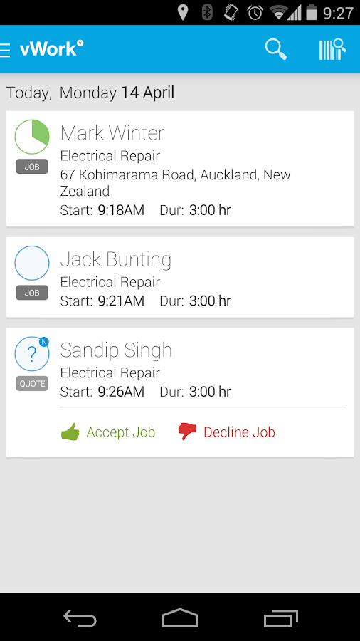 vWork - Delightfully Efficient - screenshot