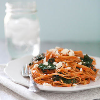 Roasted Red Pepper Pasta with Kale & Feta