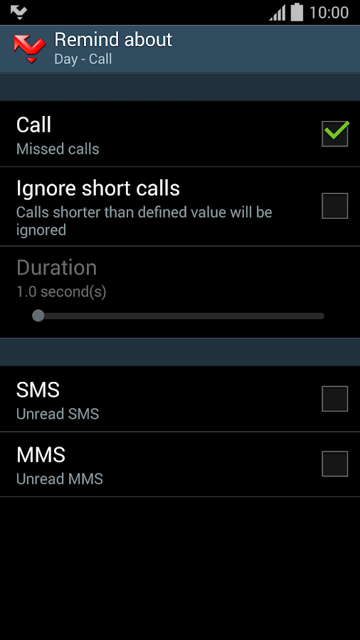 Prof Reminder - missed call - screenshot