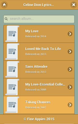 Lyrics of Celine Dion