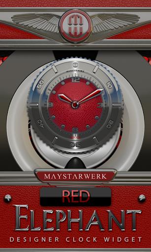 Clock Widget Red Elephant