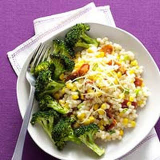 Cheesy Pearl Couscous with Roasted Broccoli.