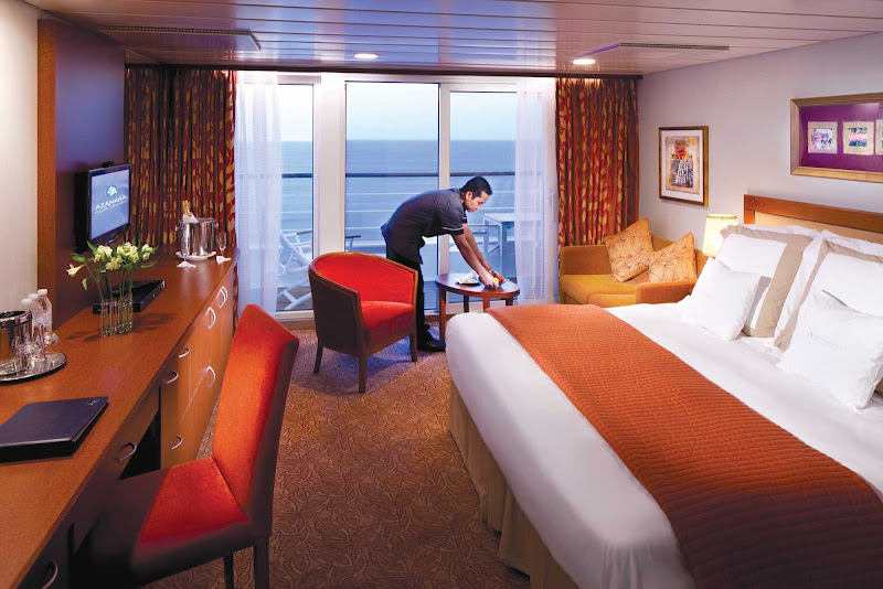 Azamara's Club Continent Suite on deck 8 measures 266 square feet and features two lower beds convertible to queen size, floor-to-ceiling glass doors, a 60-square foot veranda, a sitting area with sofa bed, flat screen TV, air conditioner and refrigerator with mini-bar.