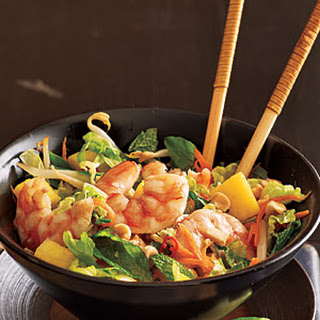 Lime Shrimp Salad with Bean Sprouts and Thai Basil.