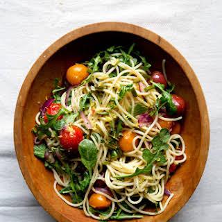 Garlic Scape and Cherry Tomato Pasta.