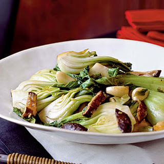Stir-Fried Bok Choy and Lettuce with Mushrooms.