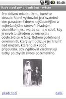 Screenshot of Pokyny pro mladou nevěstu