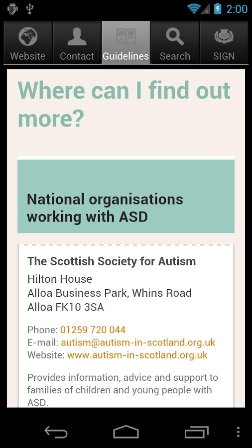 SIGN Autism Patient Guide - screenshot