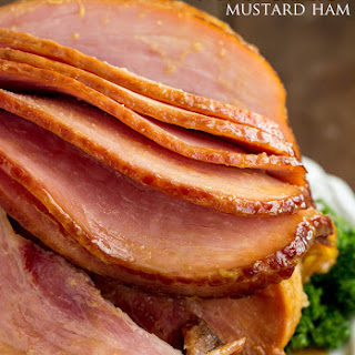 Slow Cooker Honey Garlic Mustard Glazed Ham.