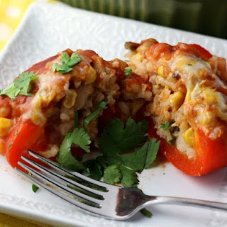 Slow Cooker Rice, Bean, and Veggie Stuffed Peppers.