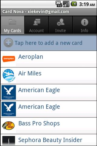 Card Nova Loyalty Card Manager - screenshot