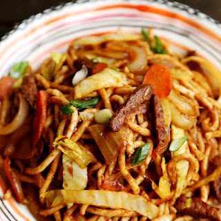 Vegan Mock Beef, Cabbage and Carrot Stir Fry Udon.