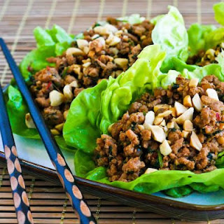 Asian Lettuce Cups with Spicy Ground Turkey Filling.
