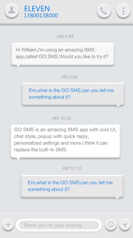 GO SMS PRO WHITESOUL THEME- screenshot