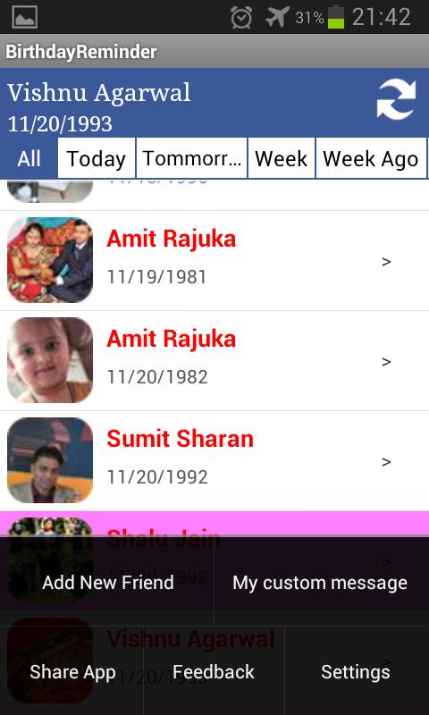 Birthday Calendar - screenshot
