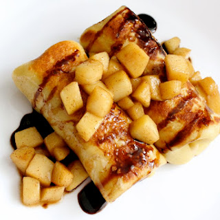 Brie and Apple Blintzes (Crepes) with a Balsamic Reduction Sauce