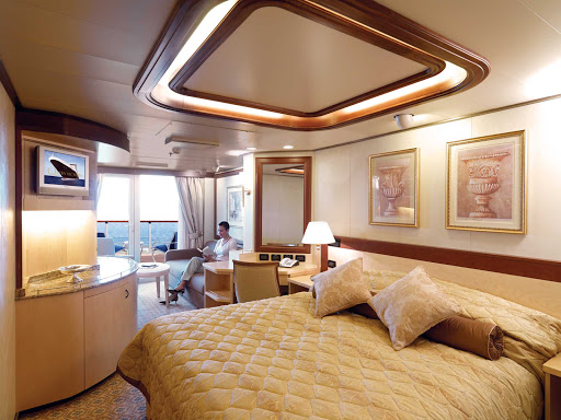 Cunard-Queen-Victoria-Princess-Suite - The Princess Suite aboard Queen Victoria offers guests floor-to-ceiling windows, a spacious private balcony, king bed, full bathroom with whirlpool tub and more.