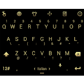 Keyboard Theme Flat Black Gold