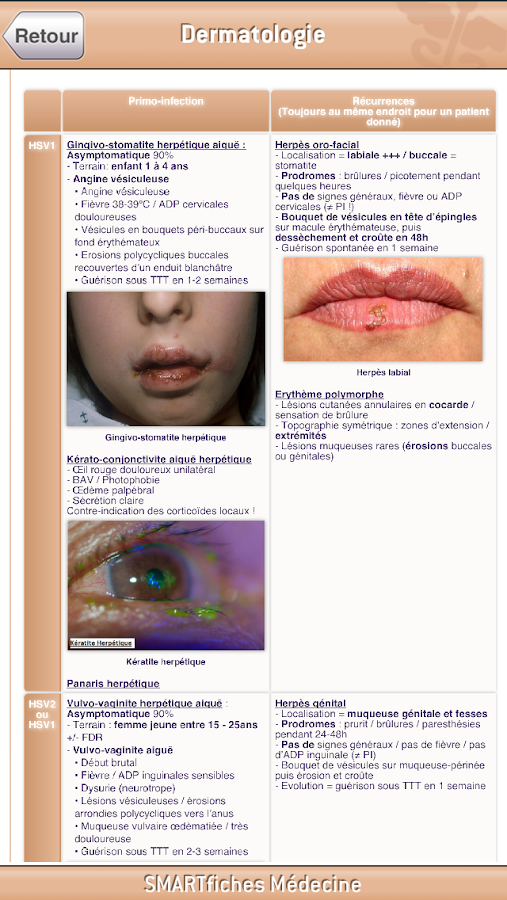 SMARTfiches Dermatologie - screenshot