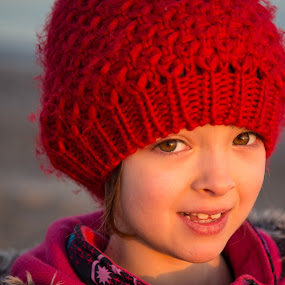 Bronwyn at the Beach by Jennifer Bacon - Babies & Children Children Candids ( winter, girl, sunset, candid, beach, smile, hat )