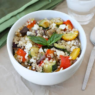 Israeli Couscous Salad with Roasted Vegetables.