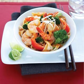 Thai Coconut Shrimp with Brown Rice Pasta.