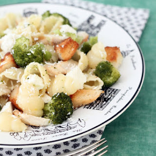 Broccoli, Chicken and Feta Pasta with Parmesan Croutons