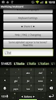 Screenshot of Italian Keyboard Plugin