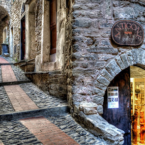 going up to the castle by Roberta Sala - City,  Street & Park  Street Scenes ( dolceacqua, hdr, street, street scene, italy, city )