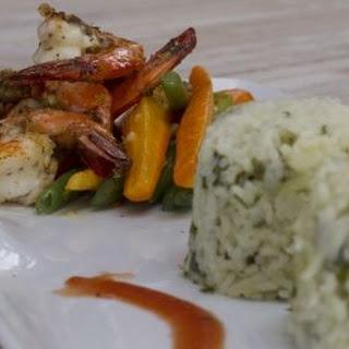 Jamaican Jerk Prawns with Callaloo Rice