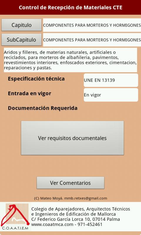 Control Recepción Materiales: captura de pantalla