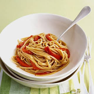 Spicy Whole Wheat Linguine with Red Peppers.