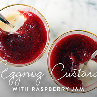 Eggnog Custard with Raspberry Jam