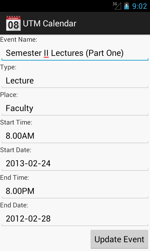 UTM Calendar- screenshot