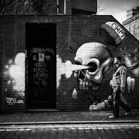 Whoosh! by Susan Berry - Black & White Street & Candid ( urban, skull, north of england, graffiti, street, northern quarter, tib street, manchester, mono, city centre, city, street photography )