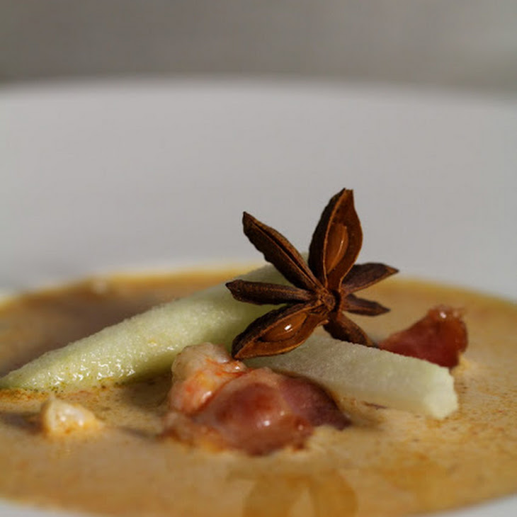 Scampi Cream with Green Apple, Crispy Bacon and Chinese Badian