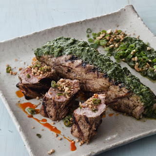 Coconut-Marinated Pork Tenderloin with Green Onion-Peanut Relish