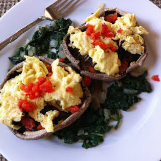 Portobello Mushrooms With Eggs, Spinach, Roasted Peppers.