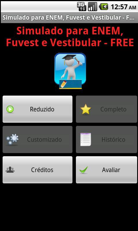 Simulado ENEM Vestibular FREE: captura de tela