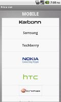 Screenshot of Mobile Price List