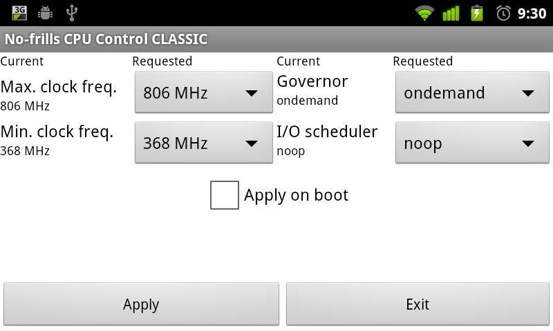 No-frills CPU Control CLASSIC: captura de pantalla
