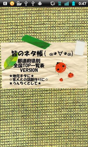 皆のネタ帳☆都道府県ランキング☆