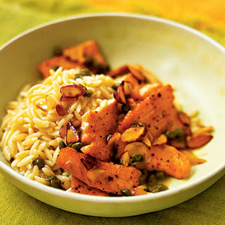 Salmon Scallopini with Almond Orzo