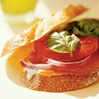 Smoked-Salmon, Tomato, and Basil Sandwich.