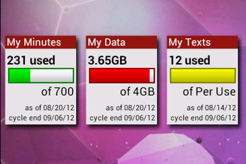 Verizon Usage Widgets - screenshot