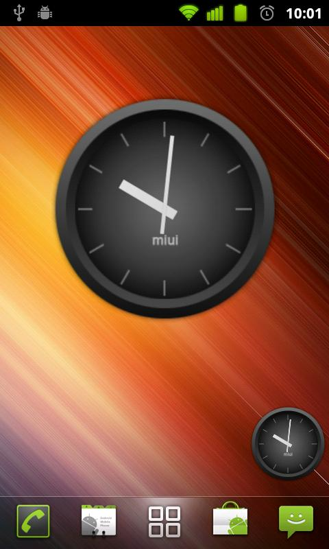MIUI Dark Analog Clock Widget - screenshot