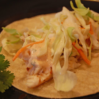Fish Tacos with Chipotle Dressing.