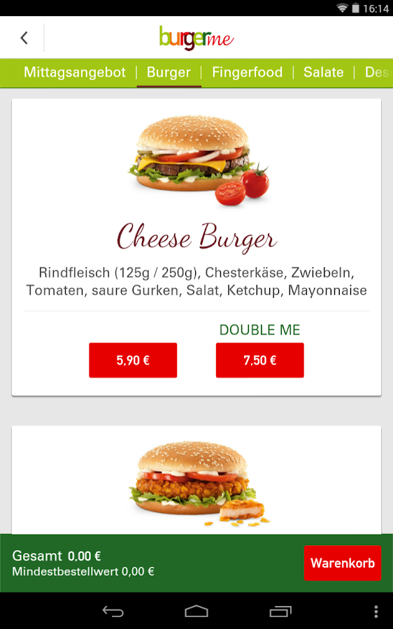 burgerme – Screenshot