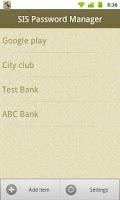 Screenshot of SIS Password Manager (Free)